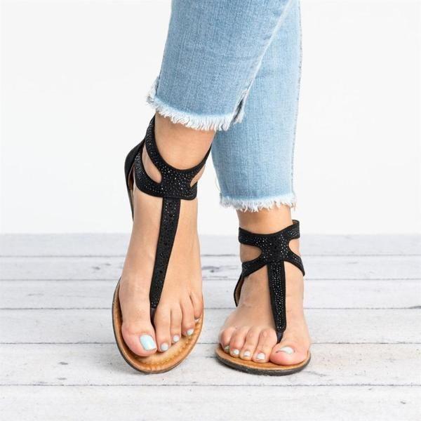 f7d7b38f0a21d Women Diamond Gladiator Low Flat Flip Flops Sandals