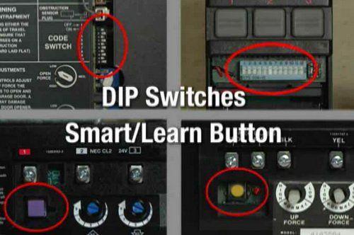 Dip Switches And Learn Buttons On Garage Door Openers Remotes Garage Door Replacement Remotes Garage Doors