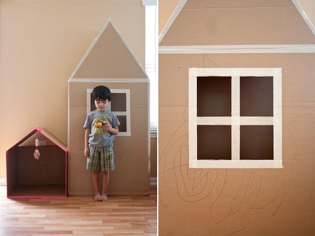 DIY - kids playhouse house from fridge box