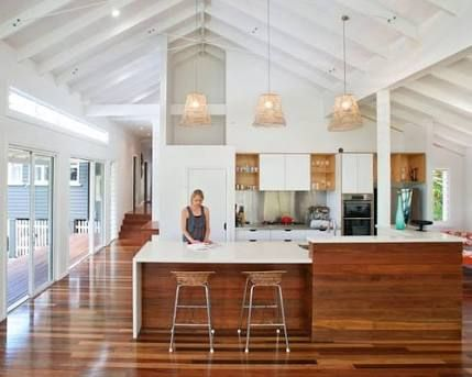 U shaped kitchen raked ceiling google search kitchen for Skillion roof definition