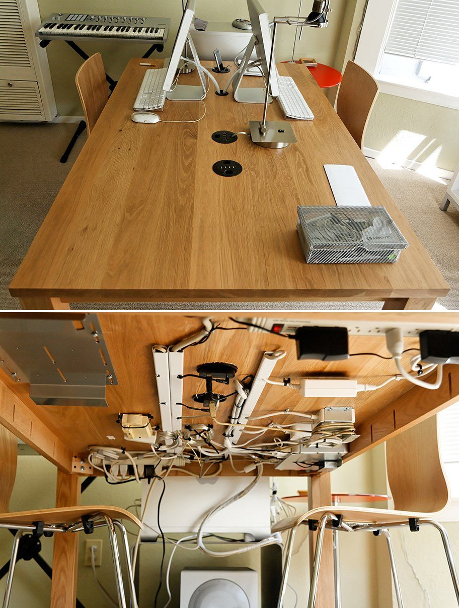 Tack Wires Under Your Table is part of Organization Hacks Awesome - Hang your wires on the underside of the table to hide their unsightliness