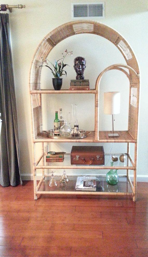 Rare Mid Century Rattan Etagere Bookshelf By LUCKYHOMEFINDS