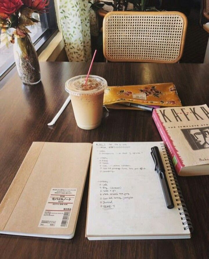 Student studying while drinking coffee
