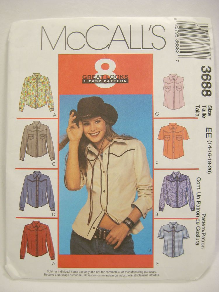 Western Shirt Patterns For Women's : western, shirt, patterns, women's, Electronics,, Cars,, Fashion,, Collectibles,, Coupons, Womens, Clothing, Patterns,, Sewing, Mccalls
