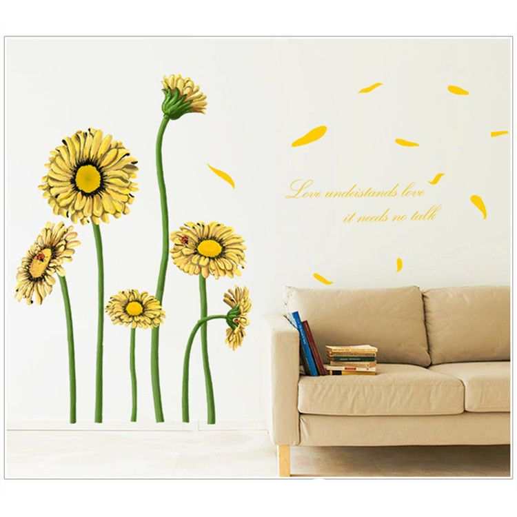 Yellow Daisy Sun Flower Wall Stickers Living Room Sofa Background ...