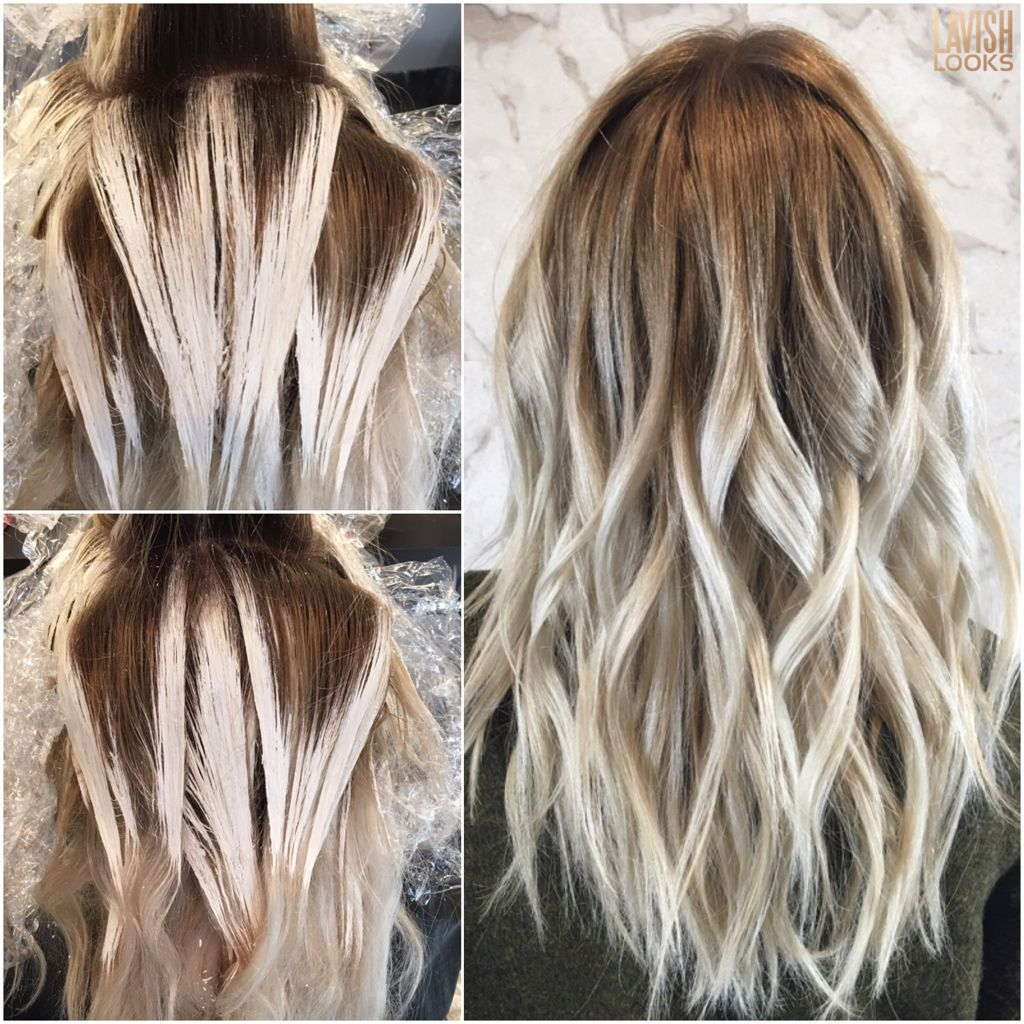 What does the Balayage process look like. #balayage #processingpic #shadowroot…