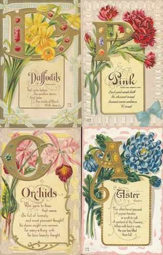 9 Fiori Significato.Lot Of 9 Flower Emblem Flower Meanings C 1910 Embossed Greetings