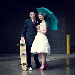 A super creative and colourful art gallery wedding in Calgary, AB.