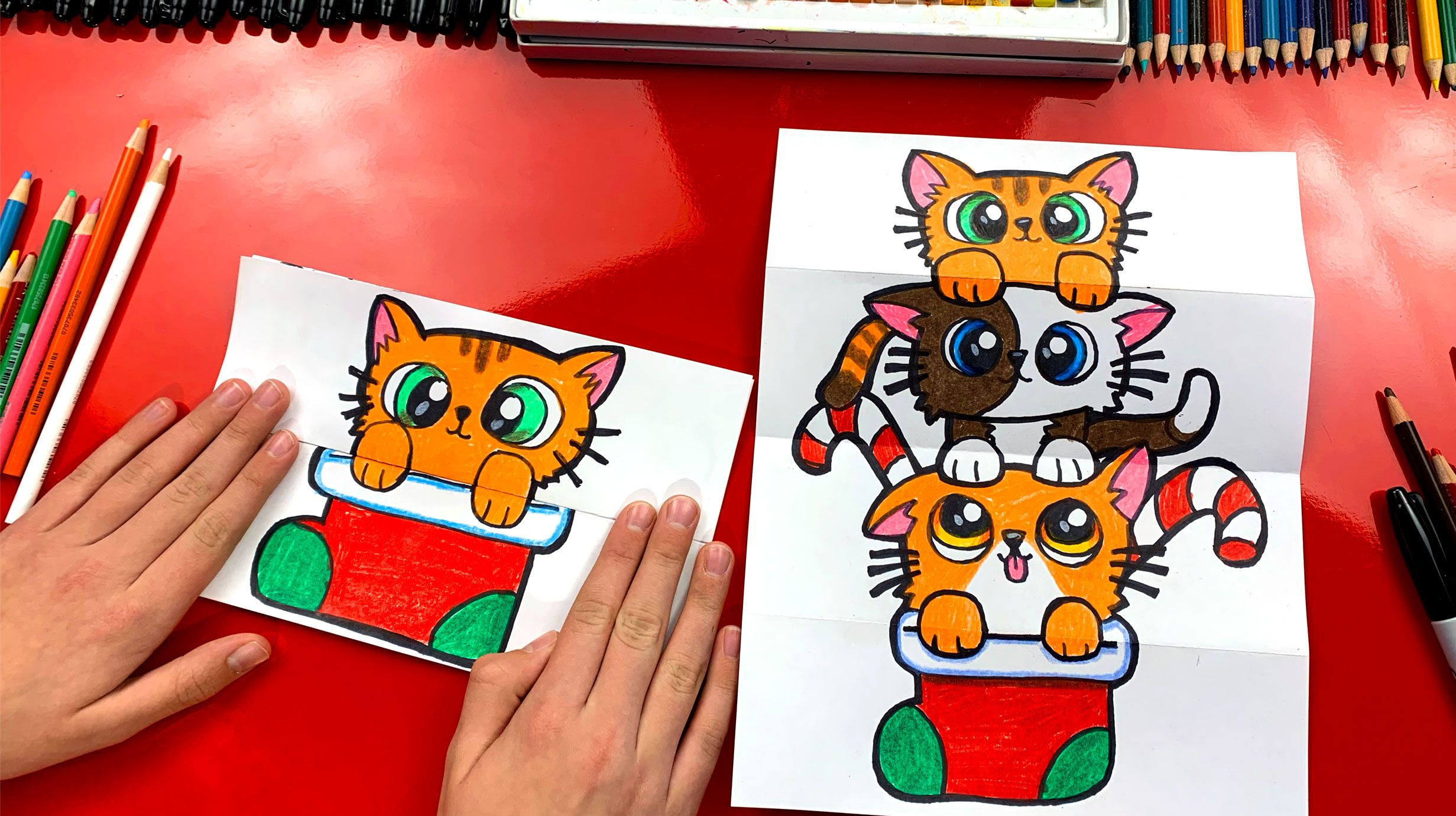 How To Draw A Christmas Kitten Stack Folding Surprise Art For Kids Hub Art For Kids Hub Art For Kids Easy Drawings For Kids