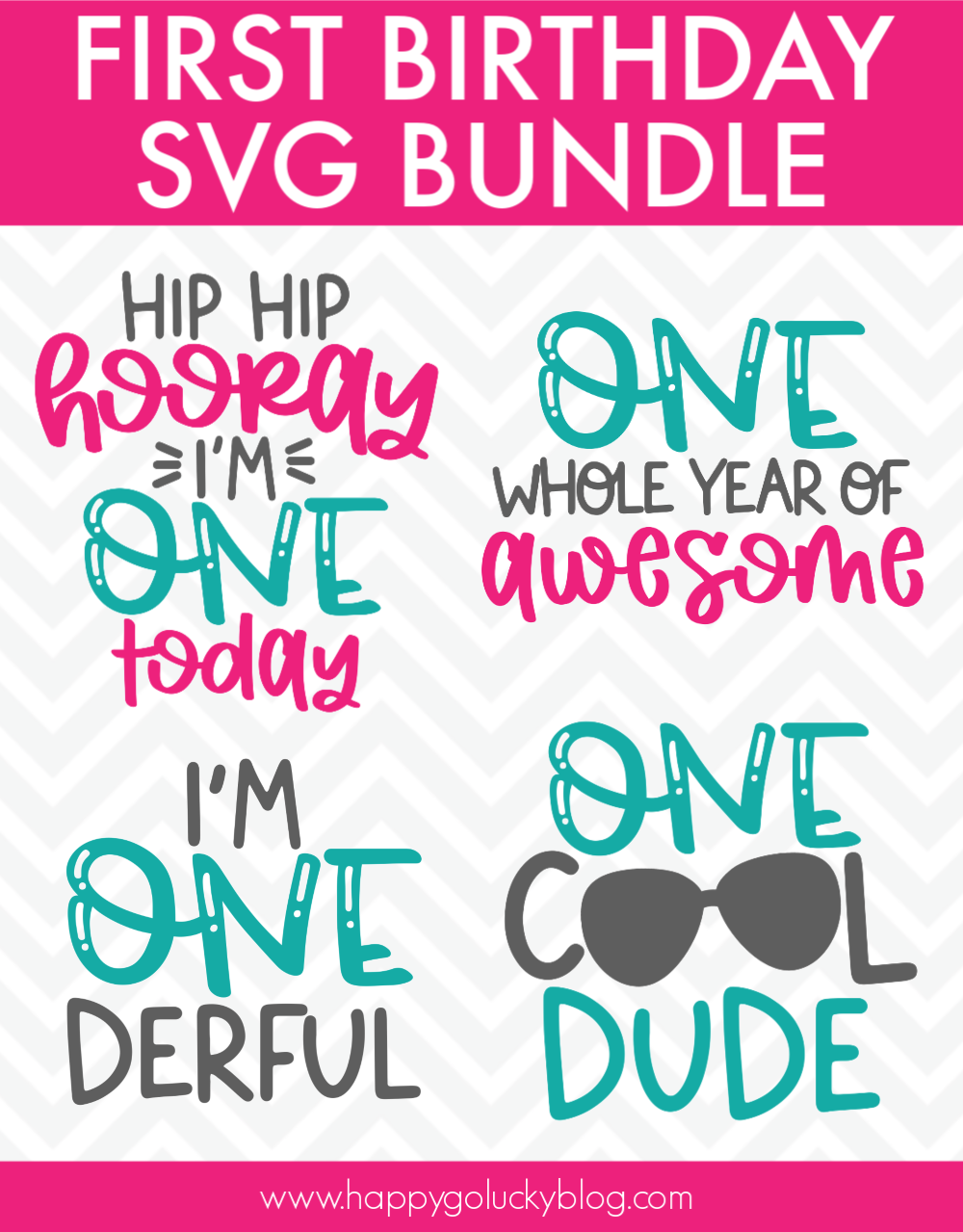 Download First Birthday SVG Bundle Free Download - Happy-Go-Lucky ...