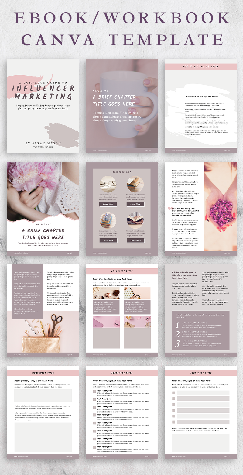 Sandy Canva Ebook And Workbook Template With Content Worksheet Checklist And Resources Page Templates In 2020 Ebook Template Workbook Template Workbook Design