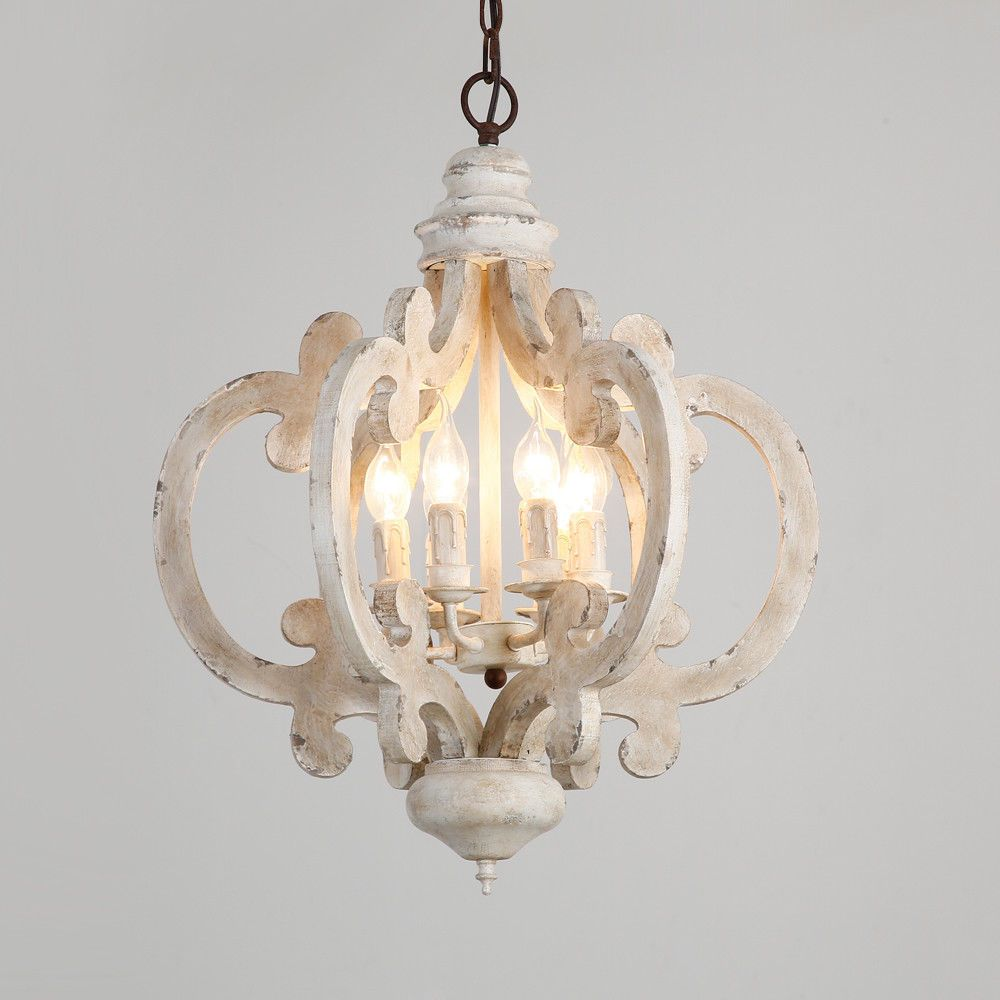 Rustic Weathered Wood Distressed White Iron Candle Chandelier