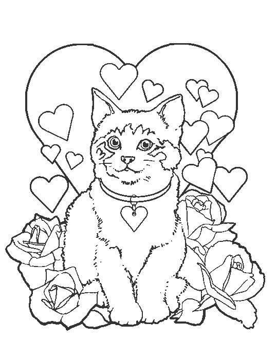 Kids N Fun Coloring Page Cats And Dogs Cats And Dogs Valentines Day Coloring Page Valentine Coloring Pages Valentine Coloring