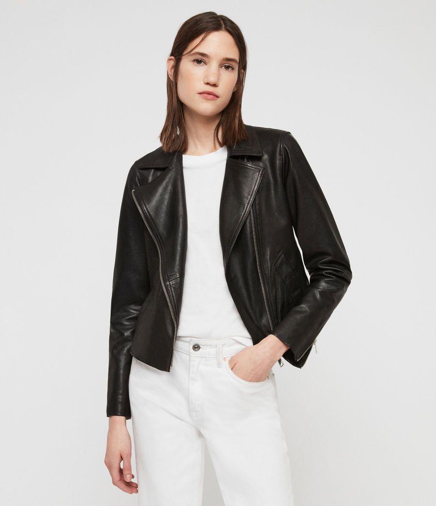 ALLSAINTS US: Womens Vela Leather Biker Jacket (black