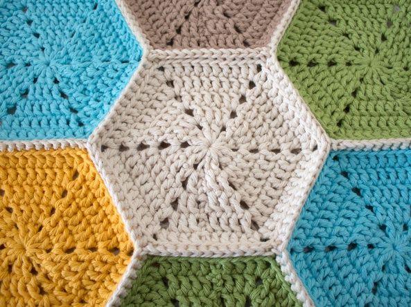 Crochet_hexagon tablecloth | Pinterest | Garn