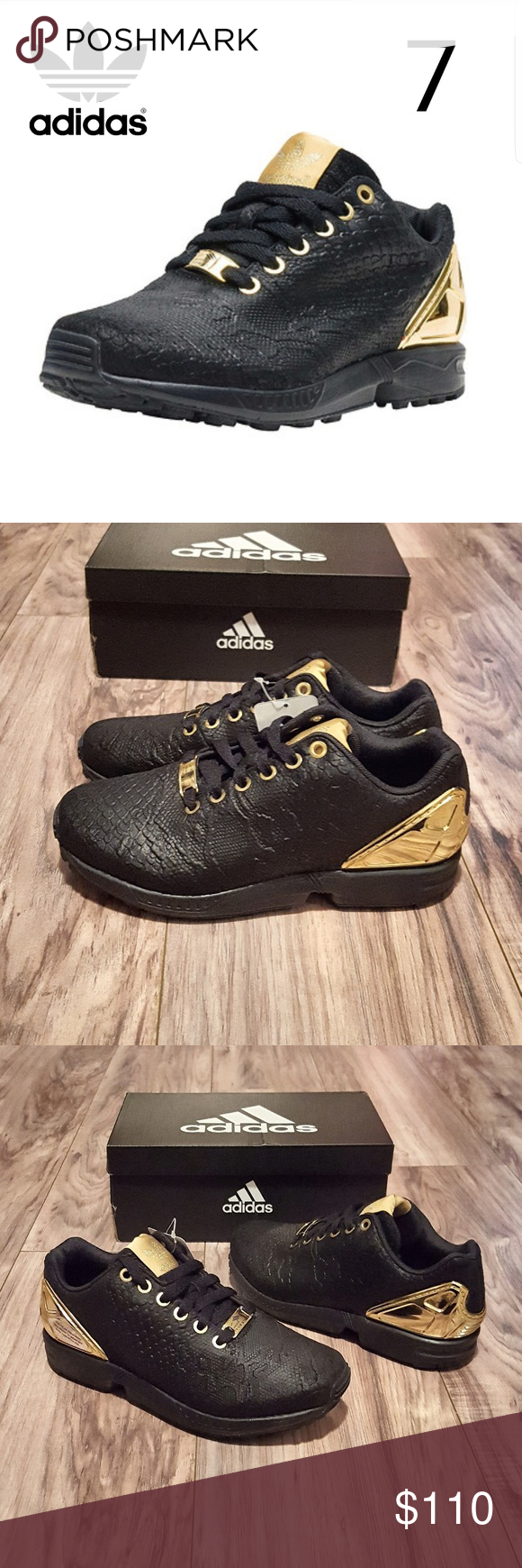 3ae2b196c8c1 Adidas Zx Flux Black Gold Womens 7 BRAND NEW NEVER USED!!!💯🆕 Adidas  Originals Zx Flux Women s Size 7 (5Y) Graphic Print - Black Gold 🚚 SHIPS  IN DOUBLE ...