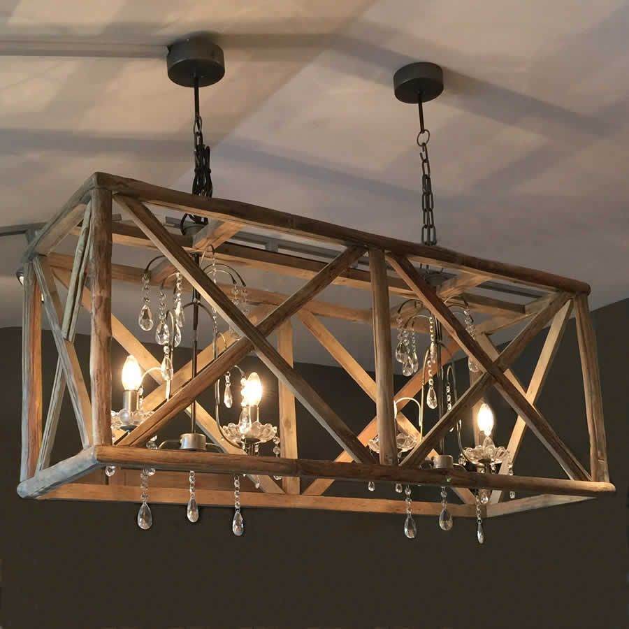 Large wooden double chandelier crystal droplets for Wood chandelier lighting