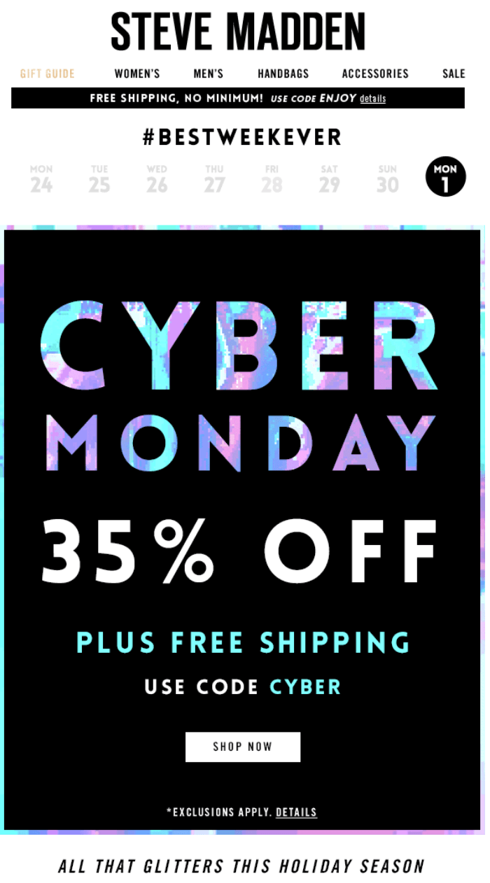 Steve Madden Cyber Monday Ad Page 1 Cyber Monday Ads Cyber Monday Cyber Monday Email