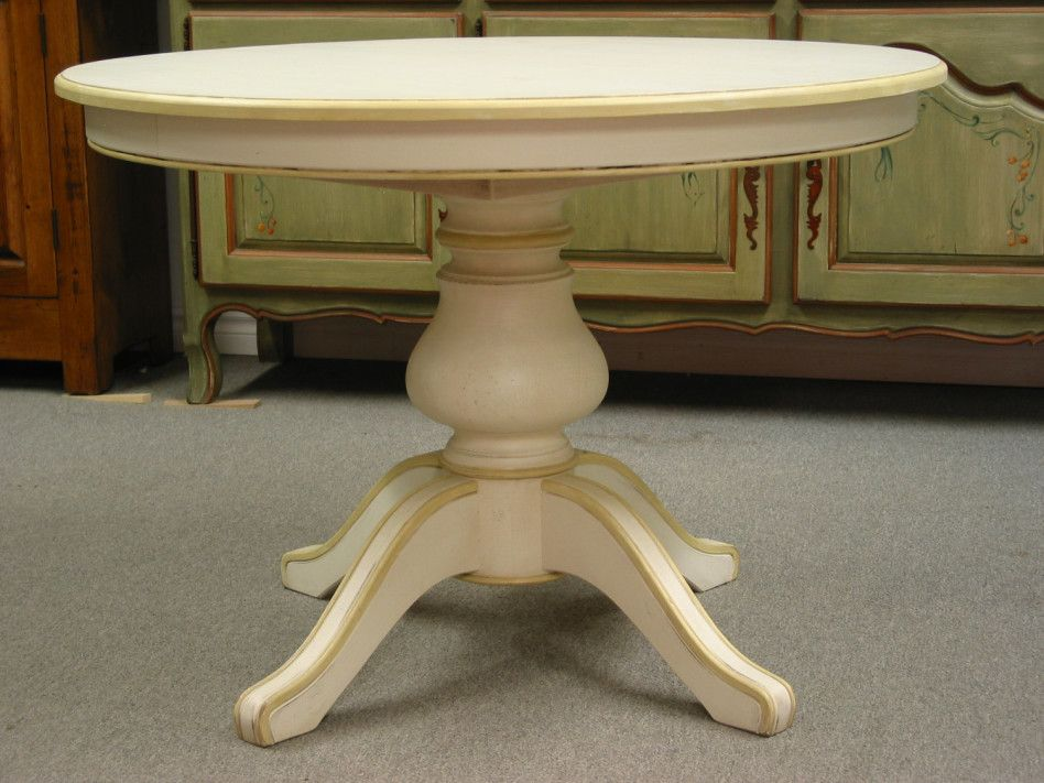 Antique White Pedestal Dining Table, Round White Dining Table With Pedestal Base