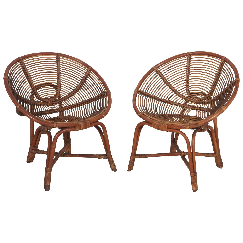Beautiful Italian Round Bamboo Lounge Chairs