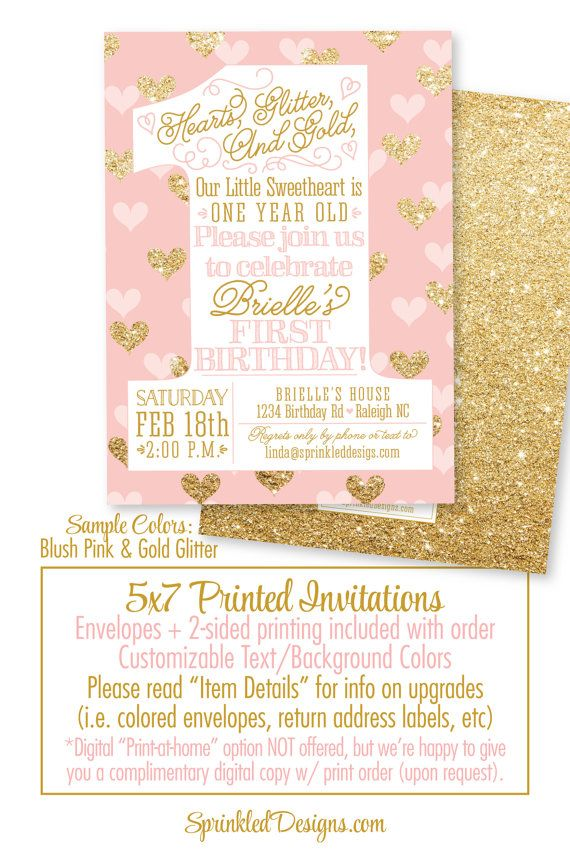 Valentine Birthday Invitation - Our Little Sweetheart, One Year Old ...