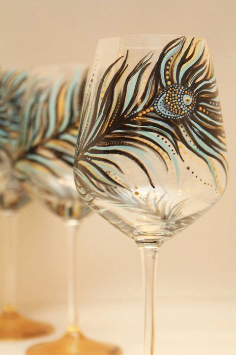 set of 4- Hand Painted Wine Glass: Peacock Design Black-Gold-Turquoise.
