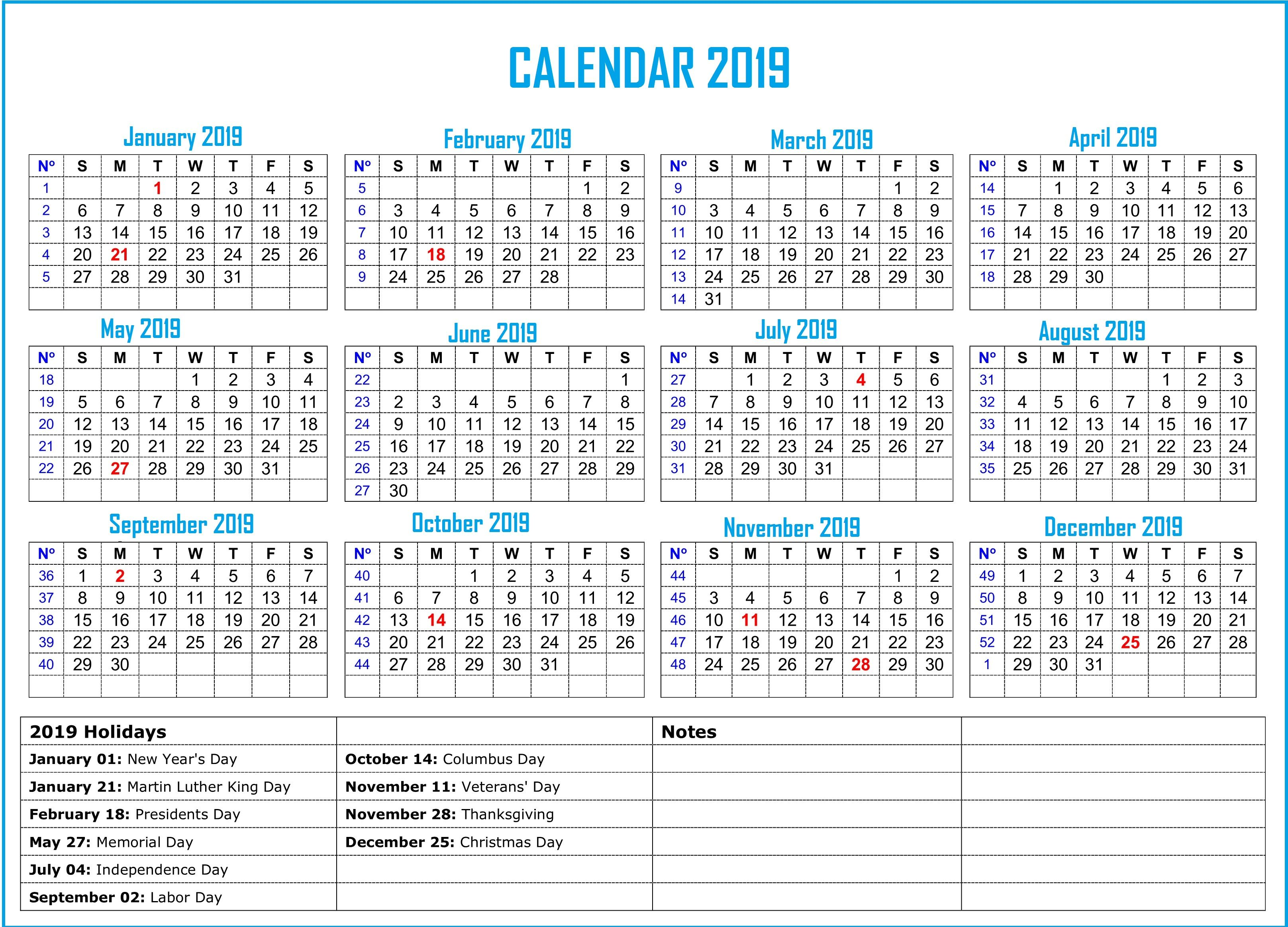 2019 Holidays Calendar Monthly Calendar Templates Pinterest
