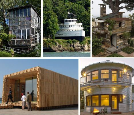 30 eco chic houses made of 10 types of recycled materials for Build house on your own land