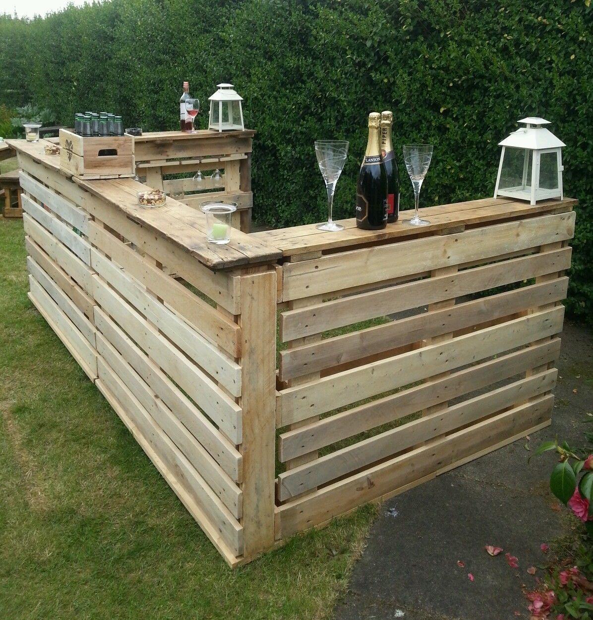 Garden Bar Pub Area With Glassholders Rustic Wood Outside Summer Drinks Bbq Ebay Diy Outdoor Bar Rustic Bar Patio Bar