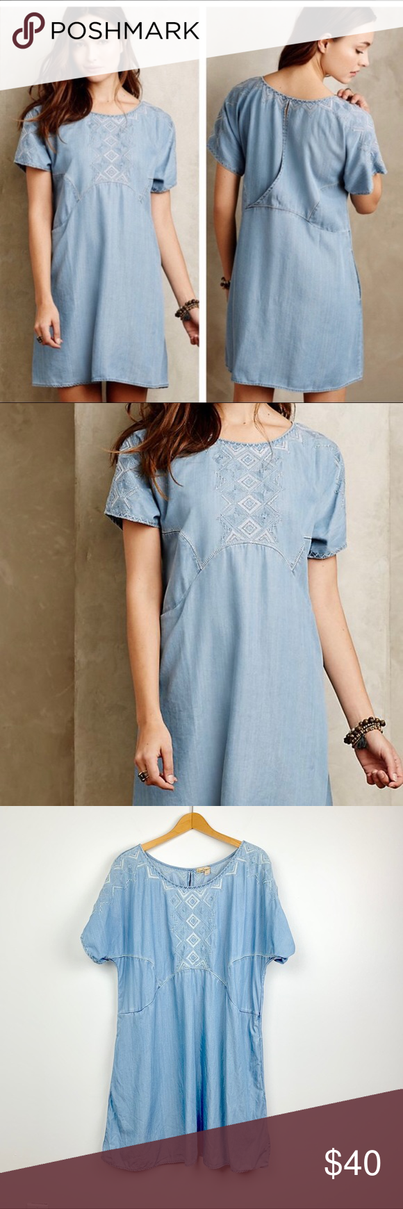 c2d264befdc8 Holding Horses Sands Chambray embroidered dress L Holding Horses Sands  Chambray embroidered dress L Cute comfy chambray shift dress with white  embroidery ...
