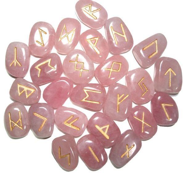Rose Quartz Runes Set Rune Stones Runes Rose Quartz Gemstone
