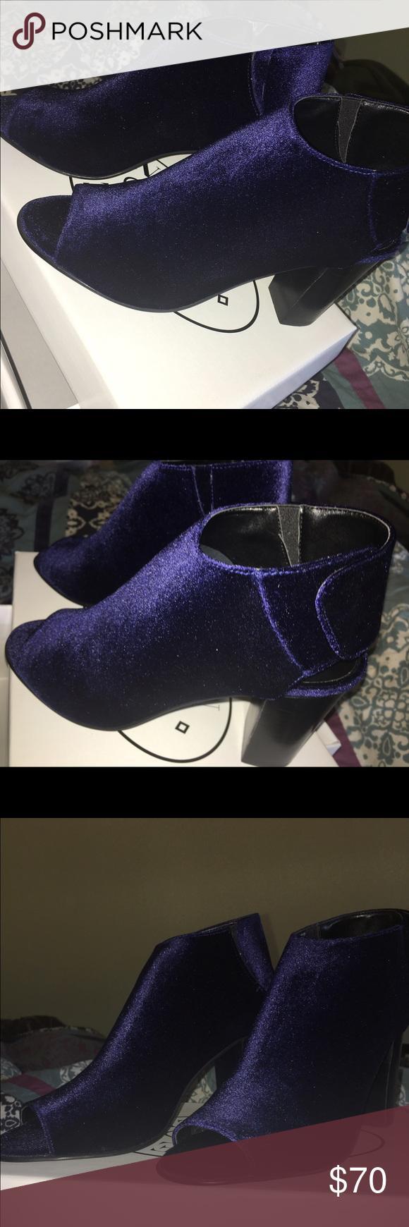 Steve Madden Royal Blue velvet heels. These are a size 9, Steve Madden open toe wedge/heel. Royal blue velvet material. NEVER WORN. Steve Madden Shoes Heels