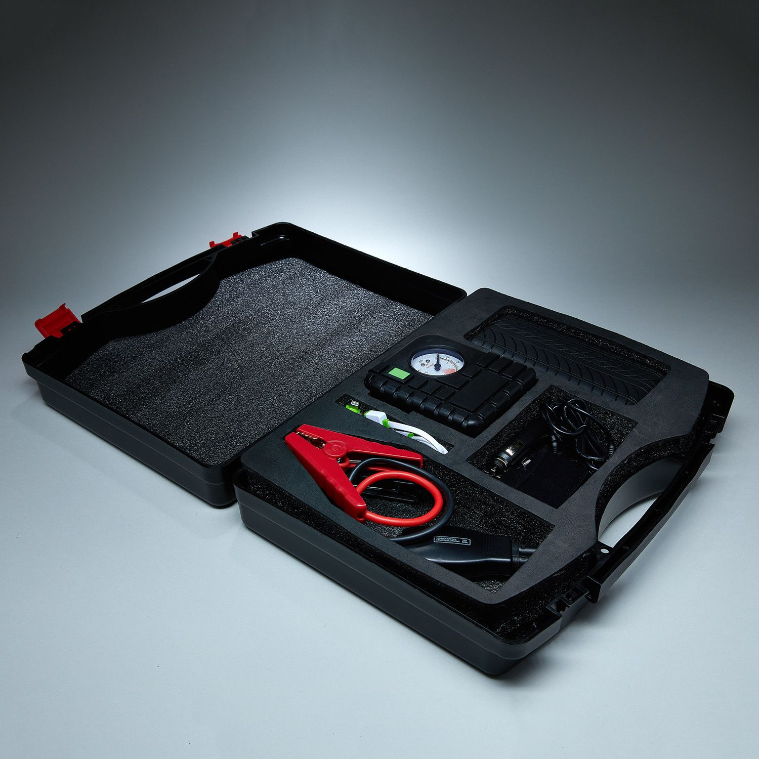 Car Jumper Powerbank with Tire Air Compressor // Black Red