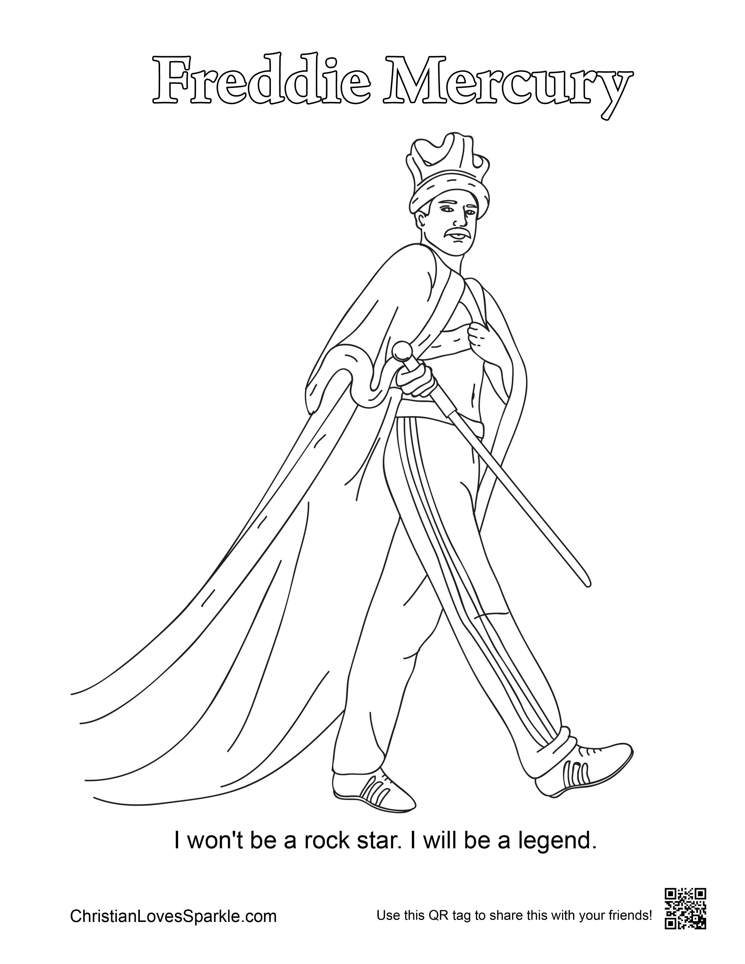Freddie Mercury Coloring Pages Gallery Coloring For Kids Print