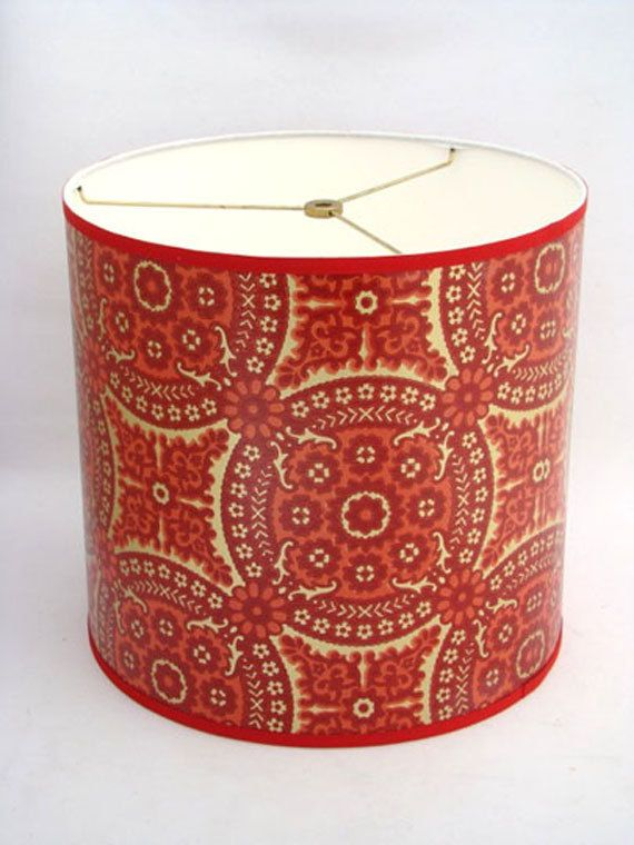 Drum Lamp Shade In 1960 S Red Gold