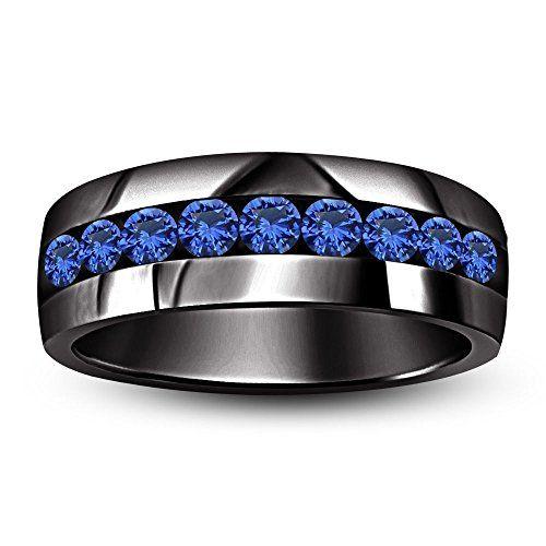 Vorra Fashion Mens 1 CT TW Blue Sapphire Engagement Wedding