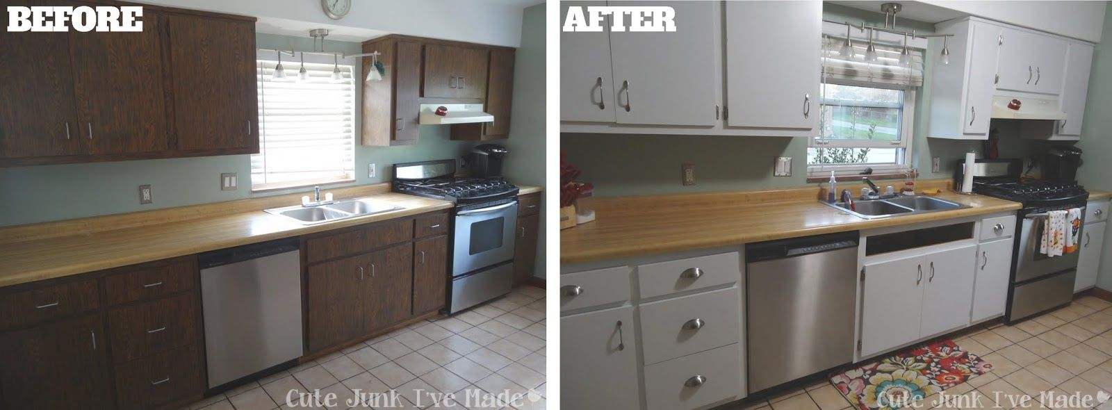How to paint laminate cabinets before after need to for Painting wood cabinets white before and after