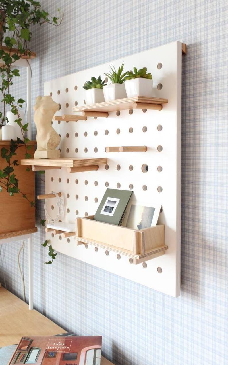 Pegboard Display Pegboard Organizer Plywood Peg Board Etsy In 2020 Peg Board Shelves Pegboard Organization Pegboard Display