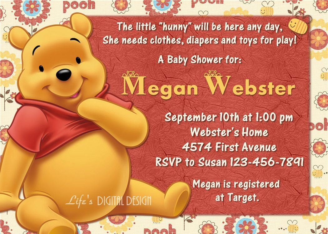 Winnie the Pooh Baby Shower Invitation Customizable Printable ...
