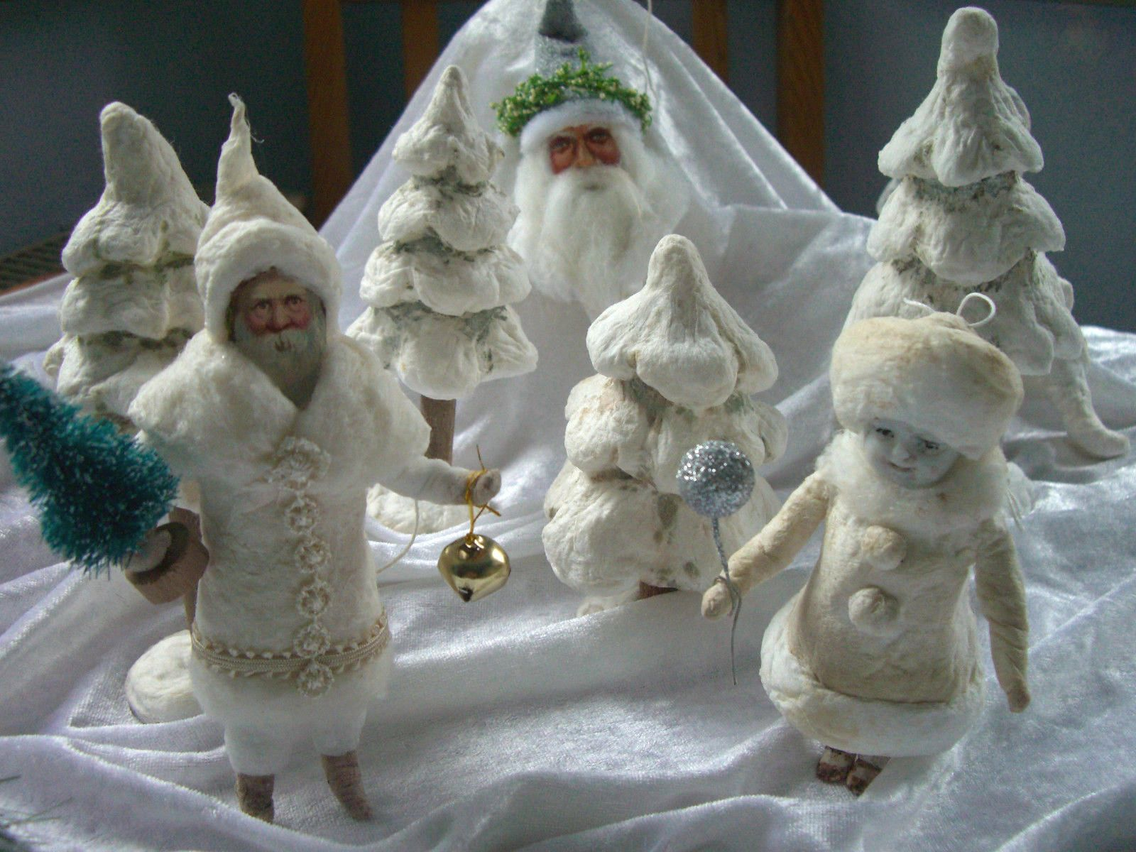 my santa in the snow with other spun cotton ornaments made. Black Bedroom Furniture Sets. Home Design Ideas
