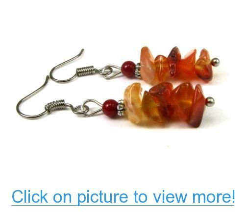 Red Agate Semi Precious Gemstone Chips Dangle Earrings, Accented with Red Bamboo Coral Beads #Red #Agate #Semi #Precious #Gemstone #Chips #Dangle #Earrings #Accented #Bamboo #Coral #Beads