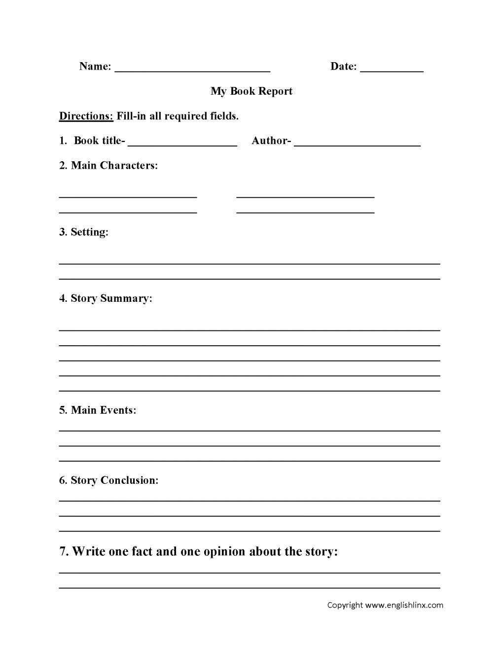 11 4th Grade Book Review Worksheet Book Report Templates Book Report Template Middle School Book Report