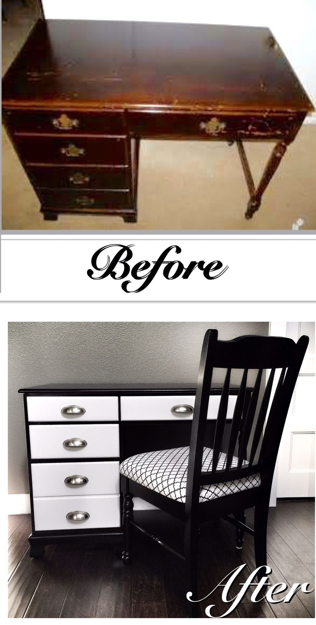 Before U0026 After Refinished Furniture Project: Old Ethan Allen Desk Updated  In A Glossy Black