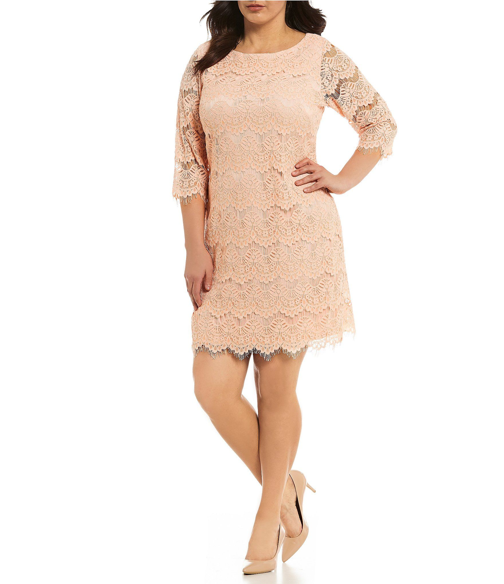 acb9909816 Brianna Plus Size Embroidered Sequin Popover Dress
