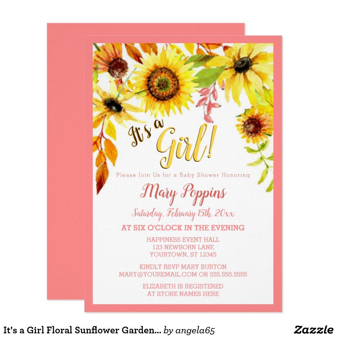 It\'s a Girl Floral Sunflower Garden Baby Shower Card Sweet ...