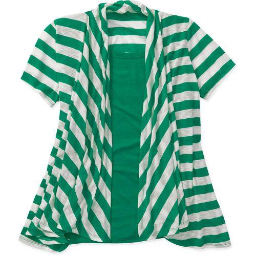 Women\'s Plus-Size Striped 2fer Cardigan Top: Women\'s Plus ...
