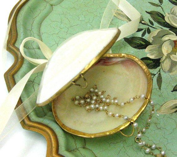 Seashell clam ring holder with White Ribbon ring bearer seashell box