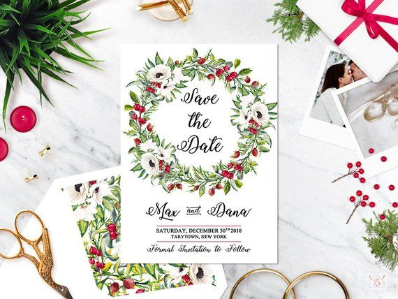 Christmas Save The Date Graphics.Winter Wedding Christmas Save The Date Card Holiday