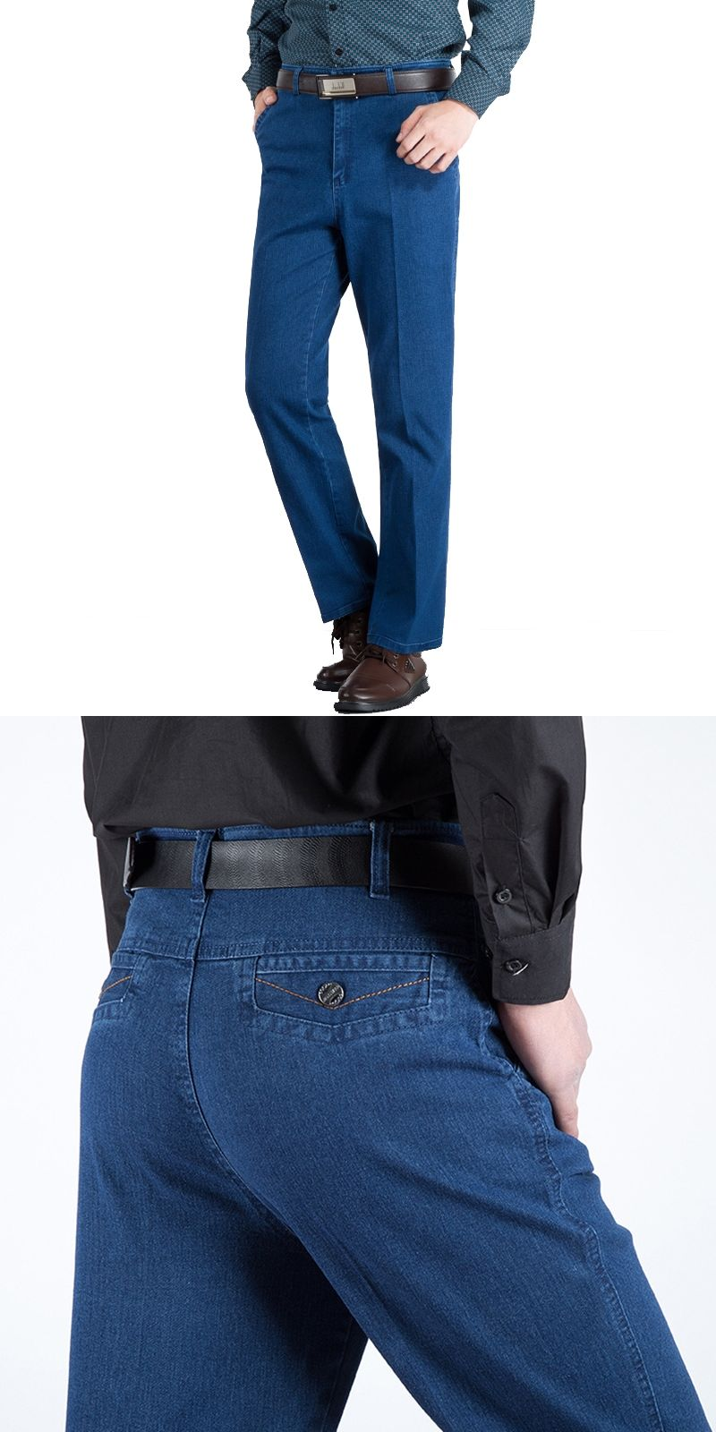 c6f39616d7e Loose Elastic Mens Jeans High Waist Straight Trouser Man Working Pants  Famous Brand Blue Male Jeans Designer Classic Denim Jeans
