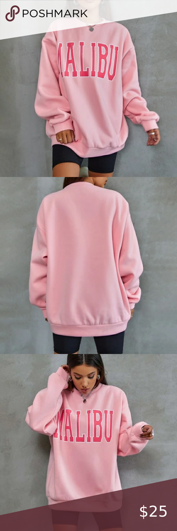 Shein Pink Malibu Graphic Crew Neck Sweatshirt Graphic Crew Neck Sweatshirts Sweatshirts Crew Neck Sweatshirt [ 1740 x 580 Pixel ]